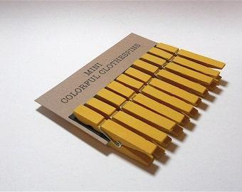 Mini Clothespins Yellow Marigold Set of Ten (10)