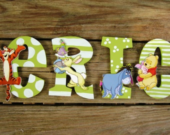 HAND PAINTED Baby Name Sign- Pooh Bear