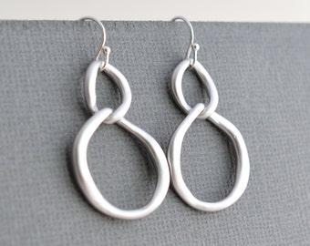 40% SALE, Double link silver earrings, Silver earrings, Eternal earrings, Bridal jewelry, Anniversary jewelry, Non pierced earrings