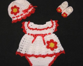 Crochet Diaper Dress Set White Newborn Dress set Knit baby clothes White Infant Dress Crochet white baby girl dress Set  baby shower gift