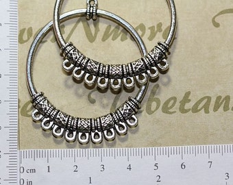 4 pcs per pack 50mm 9 Loops Chandelier Filigree Earring Component Antique Silver Finish Lead free Pewter