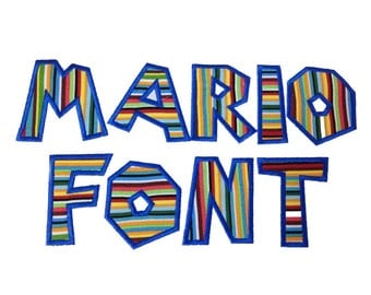 Mario Brothers Applique Machine Embroidery Font Alphabet - 5 Sizes