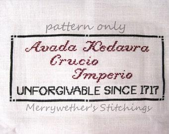 Harry Potter - Unforgivable Curses - Cross Stitch PATTERN