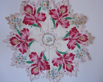Vintage Orchid Doily or Hankie