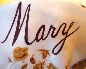 Vintage Mary Inscribed Silk Scarf