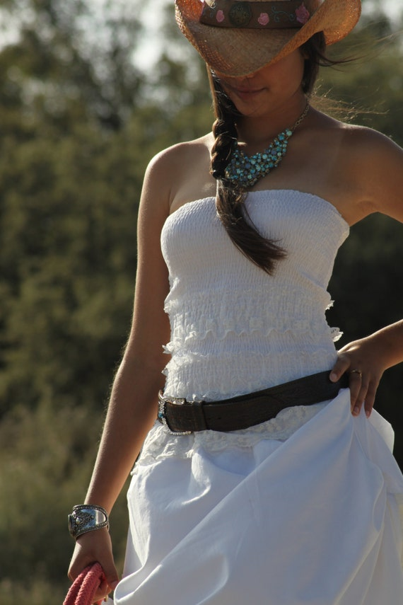 Oh country Western // Prairie Cowgirl Wedding dress in White with white and  Ivory Lace // Spring/Summer/Fall // custom //