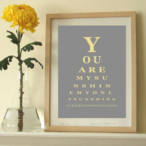 You are my sunshine print, eye chart print, modern wall decor, nursery room art
