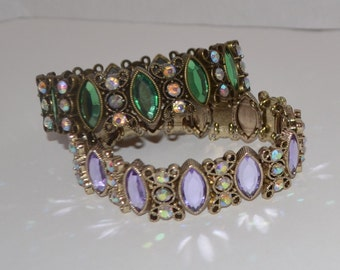 SALE Lavendar Silver or Green Gold Crystal Bracelet Hand-Beaded Stretchy Fits All