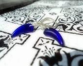Retro Electric / Fang indigo blue /silver drop earrings/royal blue earrings..made in Canada