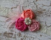 Coral light pink dark pink rosettes on cream ivory lace headband pink feathers pear Rhinestone