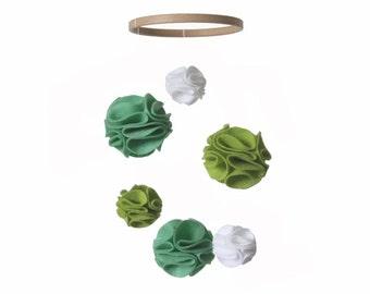 Spring Nursery Mobile - Green Mint Fern White - Pom Pom Baby Crib Mobile - Modern Nursery Mobile