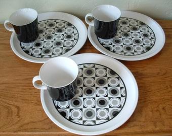 Vintage Mid Century Snack Set Luncheon Set of 3 Mikasa Moon Dot Jonas Roberts Geometric  Plates Cups Cera Stone