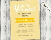 yellow baby shower Invitation, gender neutral, striped, printable, DIY, digital, green, announcement, printable, cute shower, N