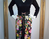 CLEARANCE Vintage 1970's Miss Eileen Floral Skirted Black Dress - Size 12