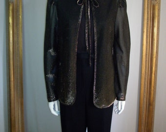CLEARANCE  Vintage 1970's Sears Shimmery Gold Metallic Sheer Jacket - Size Small