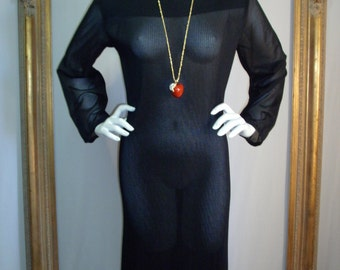 CLEARANCE Vintage 1970's Georgee Originals Pleated Black Tunic Dress with Long Sleeves - Size 16