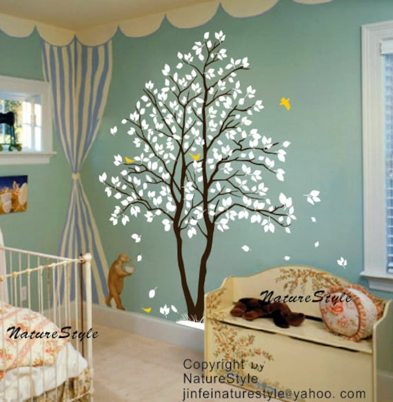 nursery wall decal baby wall decal children wall decal flying birds decal room decal-Two Trees with Flying Birds