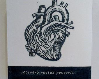 The Receptive Heart, Relief Print on Wood Panel, encaustic, anatomical heart, latin text, hand pulled print, original art