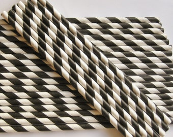25 Paper Black & White Striped Drinking Straws
