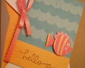 Hello Friend Stationery Card, Blank inside, Fish ocean underwater notecard
