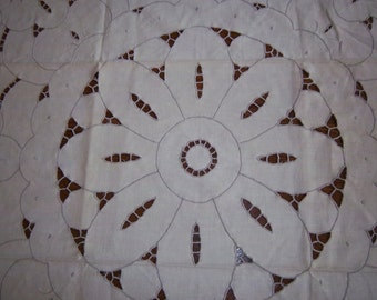 Vintage Ivory Doily w/ Floral Cutwork Design Dresser or Table Topper Square Embroidered Edges