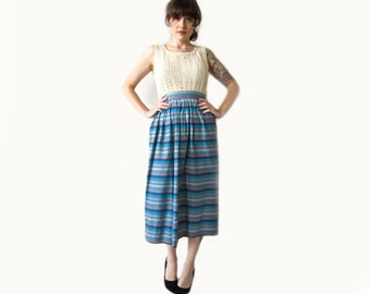 Vintage 60s Skirt . Horizontal Striped Pastel Cotton High Waisted Skirt . Size Small