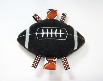 Football Soft Rattle Ribbon TagToy Brown White