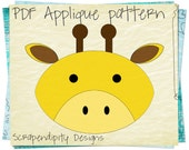 Giraffe Fabric Applique Pattern - Childrens Clothing Applique / Giraffe Table Runner / Animal Fabric Iron on Design / PDF Applique AP110-D