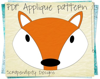 Fox Applique Pattern - Animal Fabric Applique / Fox Sewing Pattern / PDF Nursery Bedding / Baby Bodysuit Iron on / Wall Hanging AP22-D