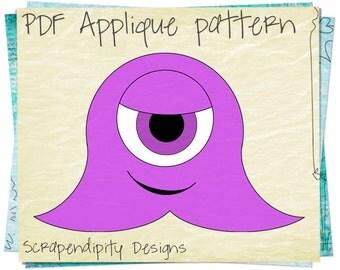 Monster Fabric Alien Applique Pattern - Monster Applique Template / Halloween Quilt Pattern / Monster Table Runner / Halloween Shirt AP11-D