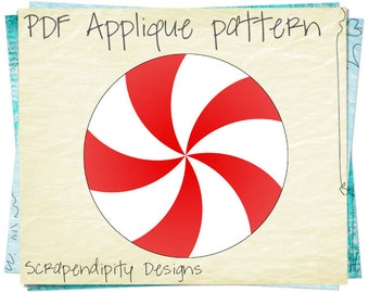 Fabric Applique Pattern - Peppermint Applique Template / Christmas Baby Quilt / Christmas Peppermint Table Runner / Hoilday Clothing AP112-D
