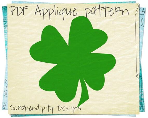 St Patricks Day Applique Pattern - Shamrock Applique Template / DIY Irish Infant Baby Shirt / Kids Celtic Tshirt Design AP157-D