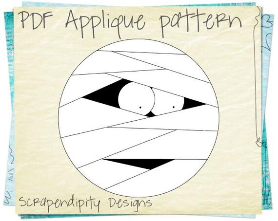 Halloween Baby Applique Pattern - Mummy Applique Template / Halloween Iron on Patch / Halloween Quilt Pattern / Halloween Card Design AP18-D