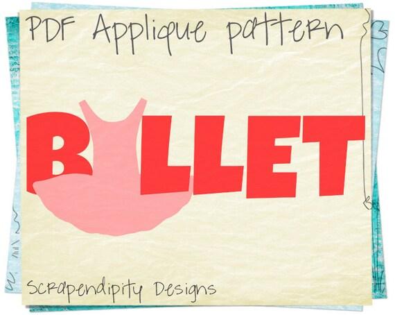 Ballet Applique Pattern - Ballerina Applique Template / Kids Girls Clothing / Boutique Ballet Shirt / Nursery Applique Quilt Pattern AP213-D