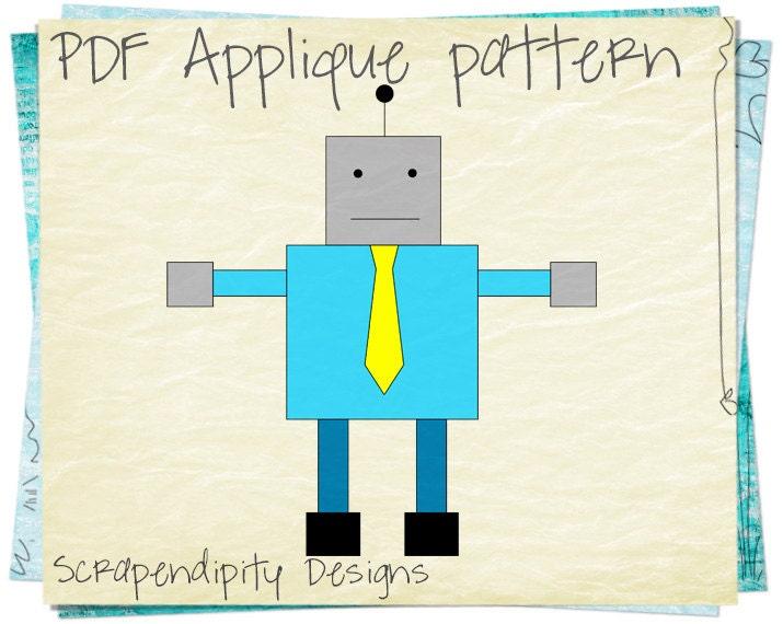 robot fabric applique pattern robot applique template. Black Bedroom Furniture Sets. Home Design Ideas