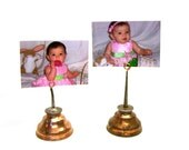 Pair of Shabby Chic Photo Display Vintage Copper Plated Oil Cans