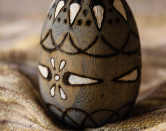 Easter Egg Decorative Blue Painted & Wood Burned / Pyrography