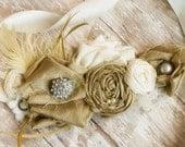 Wedding Dress Sash / Vintage Style Bridal Sash / Wedding Belt /  Silk and Rhinestone Sash / Lace Sash /