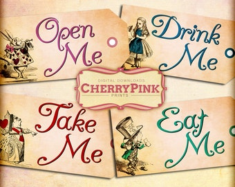 Alice Vintage Tags, Alice in Wonderland Tags, labels, decoration, printable paper party tags, open me, eat me party supplies