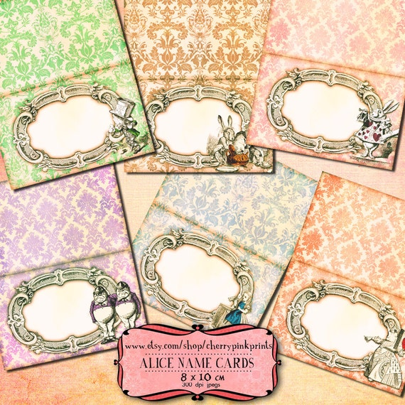 Wonderland Place Cards digital collage sheet, Alice name place Alice decoration party printable