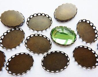 6 bezel settings, 18x13mm, bronze, oval