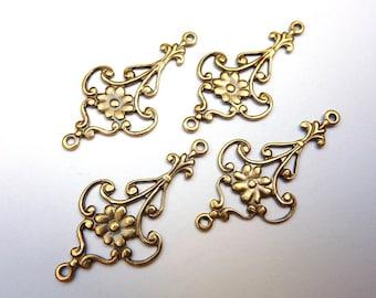 4 Connector, floral, bronze