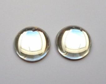 2 cabochons round, glass, Ø18mm, Crystal