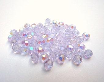 50 czech glass beads, 4mm, light purple AB
