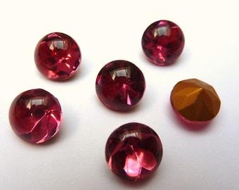 12 glass jewels, Ø8mm, pink, round