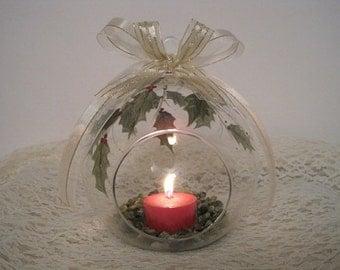 Holly & Berries Poinsettias Holiday Glass Globe Tealight Holder