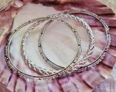 Bohemian - 3 Silver Tone Bangle Bracelets - 2 3/4 inch Diameter