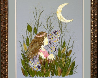 "Enchanted Garden Fairy Flower Art - ""Eclipse"" Design made with REAL Flower Blossoms"
