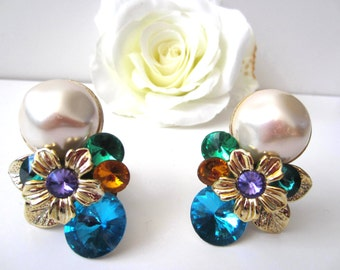 Bold Pair of Clip Earrings in Blue, Yellow, Purple, and Green.