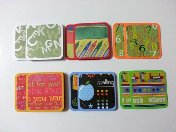 Mini Cards, School Cards, Teacher Cards, School Themed Mini Cards, Small Cards, Square Cards, 3X3 cards